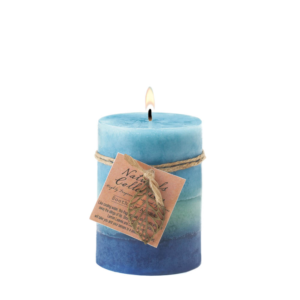 Wholesale Soothing Leaf Pillar Candle for sale at  bulk cheap prices!