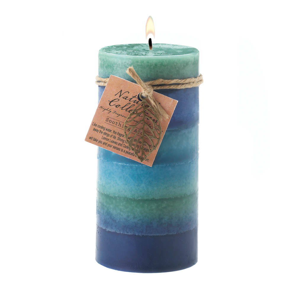 Wholesale Soothing Leaf Tall Pillar Candle for sale at  bulk cheap prices!