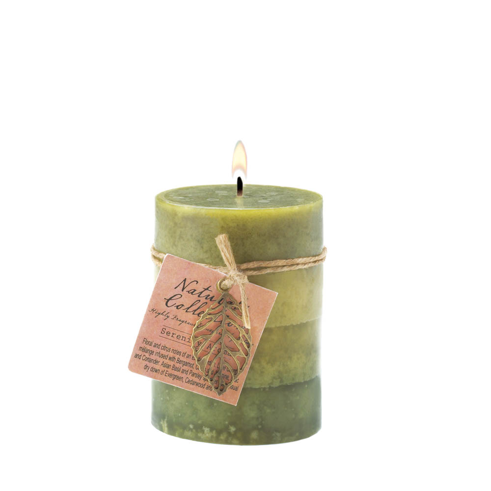 Wholesale Serenity Leaf Pillar Candle for sale at  bulk cheap prices!