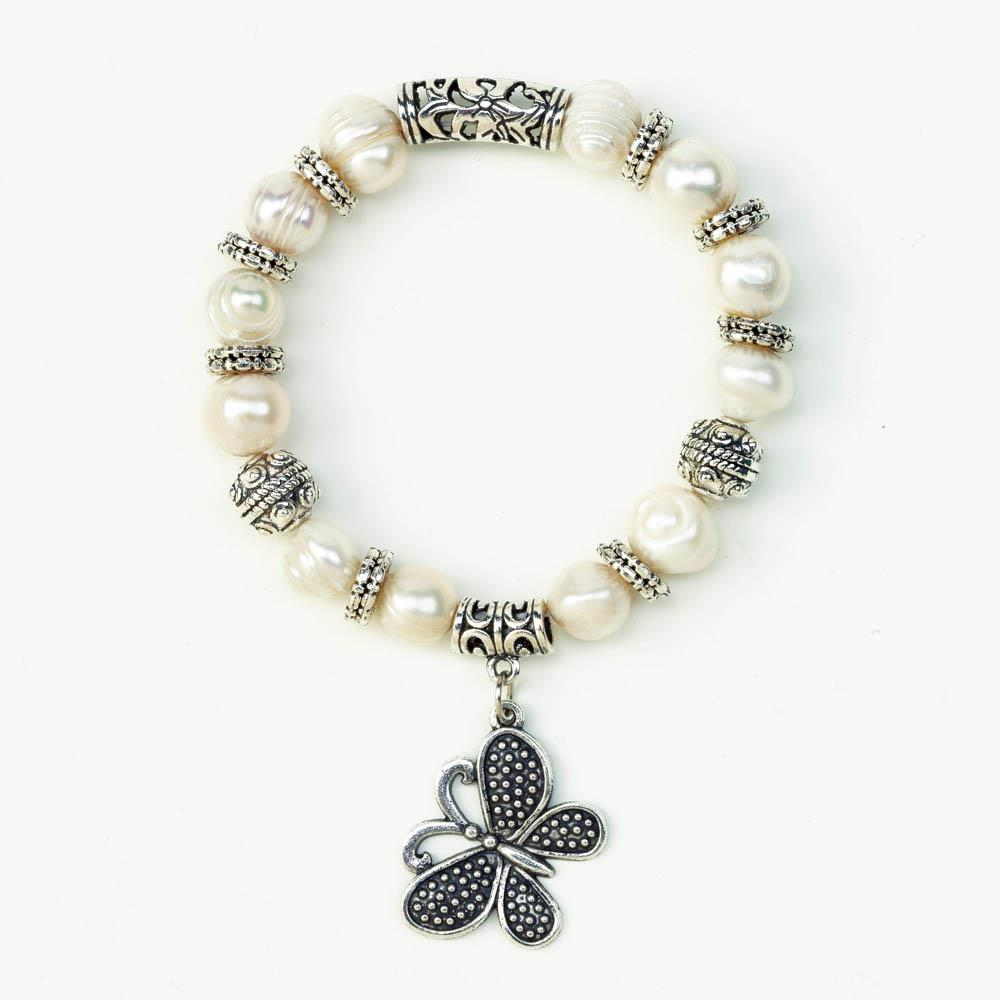Pearl Bracelet With Butterfly Charm