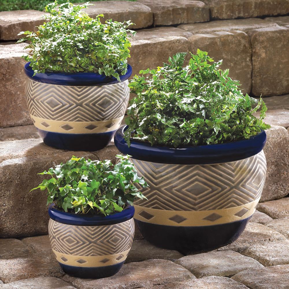 Wholesale Cobalt Planter Trio Buy Wholesale Garden Planters