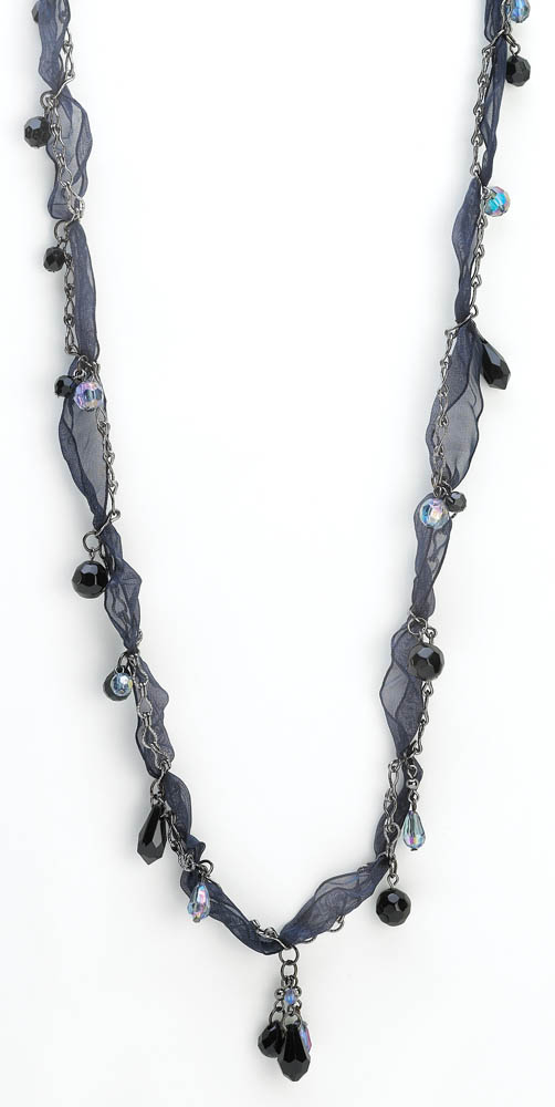 Midnight Blue Ribbon Necklace