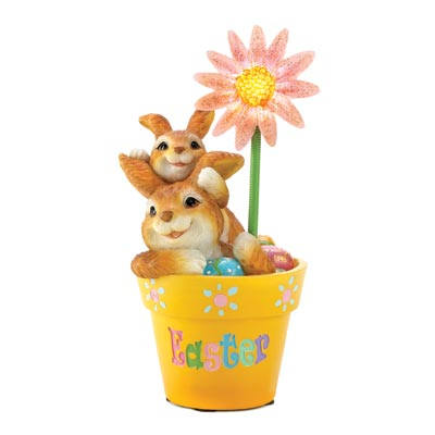 Flowerpot Frolic Easter Figurine