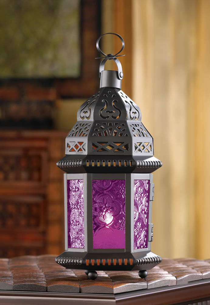 Wholesale Fuchsia Glass Moroccan Style Lantern for sale at bulk cheap prices!