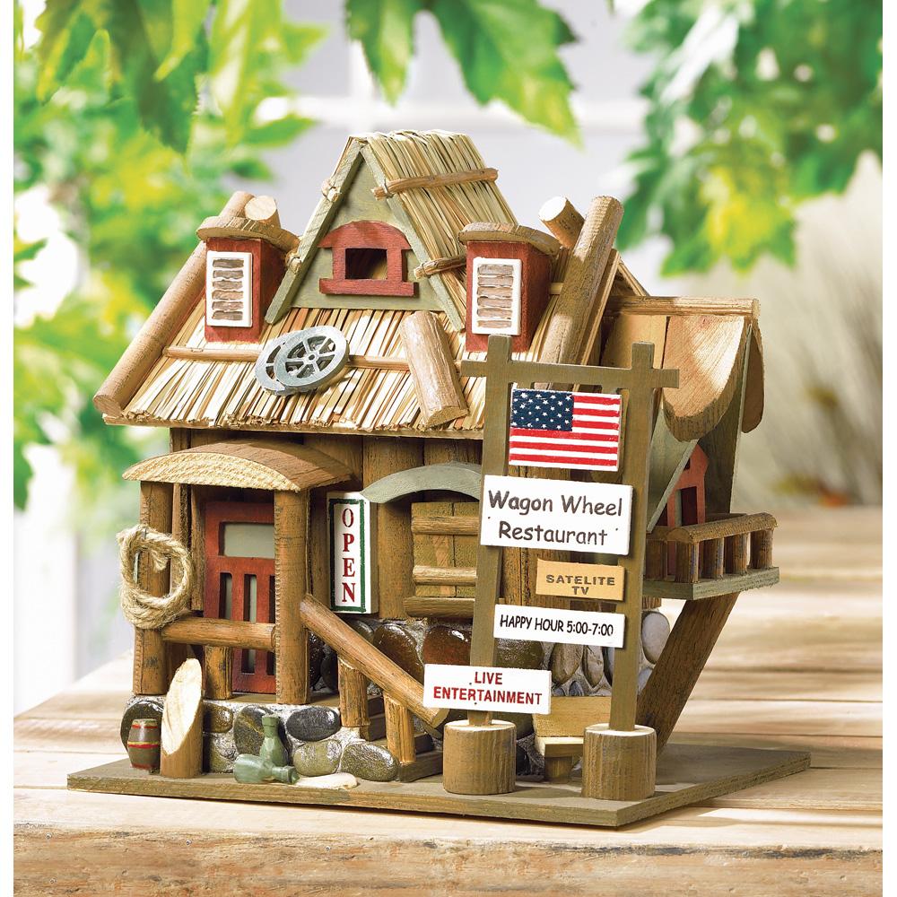 Wholesale Wagon Wheel Restaurant Birdhouse for sale at bulk cheap prices!