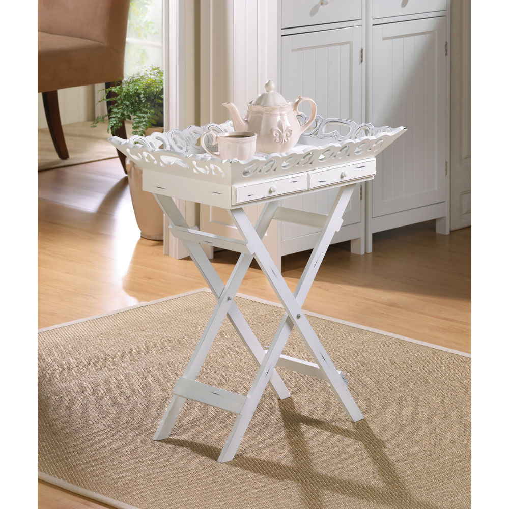 Wholesale Distressed White Wood Tray Table for sale at bulk cheap prices!