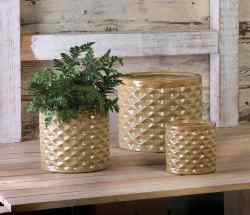 Taupe Faceted Planter Trio
