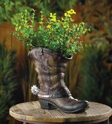 Wholesale Spurred Cowboy Boot Planter for sale at bulk cheap prices!