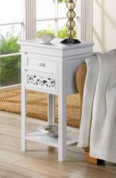 White Double Drawer Side Table