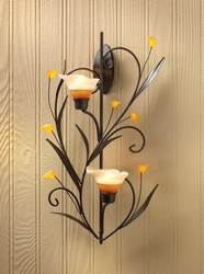 Wholesale Amber Lilies Candle Wall Sconce for sale at bulk cheap prices!