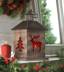 Holiday Cabin Wooden Lantern