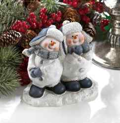 Wholesale Cheerful Snowmen Duo Figurine for sale at  bulk cheap prices!