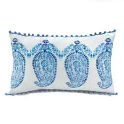 Wholesale Tasseled Blue Paisley Pillow for sale at bulk cheap prices!