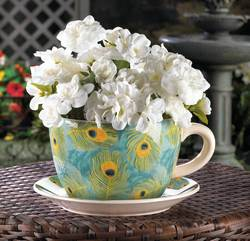 Wholesale Peacock Teacup Planter for sale at bulk cheap prices!