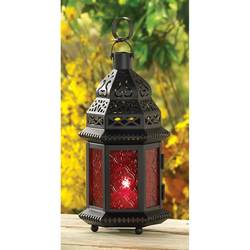 Wholesale Red Glass Moroccan Lantern for sale at bulk cheap prices!