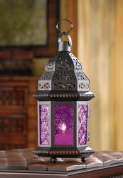 Fuchsia Glass Moroccan Style Lantern