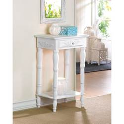 Wholesale Distressed White Wood Carved Side Table for sale at bulk cheap prices!