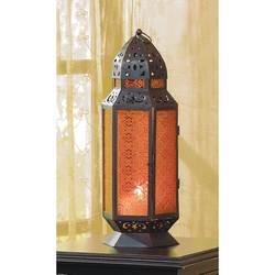 Moroccan Design Amber Glass Candle Lantern