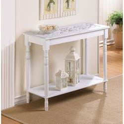 Distressed White Wood Carved Table