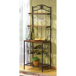 Wood Metal Wine Rack Shelf