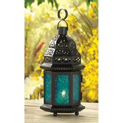 Wholesale Lantern with Blue Glass for sale at bulk cheap prices!