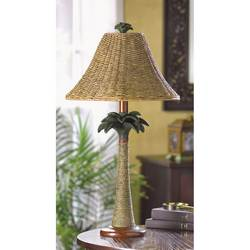 Rattan Styled Palm Tree Lamp