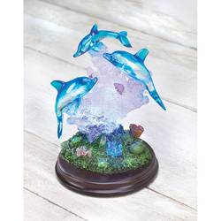 Dolphins on Wood Base with LED Lights