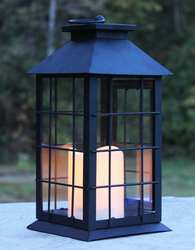 Black Country Style Metal Lantern with Flameless LED Candle