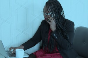 woman making conference call