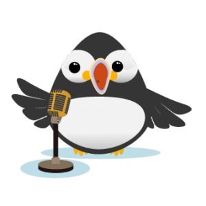 active speaker puffin on a microphone