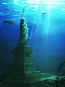 Statue of liberty underwater