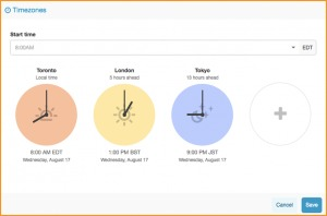 Conference call visual time zone feature