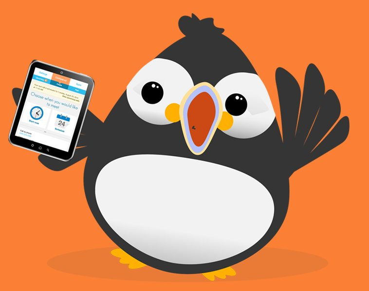 FreeConference.com mascot holding an iOS apple ipad with free screen sharing