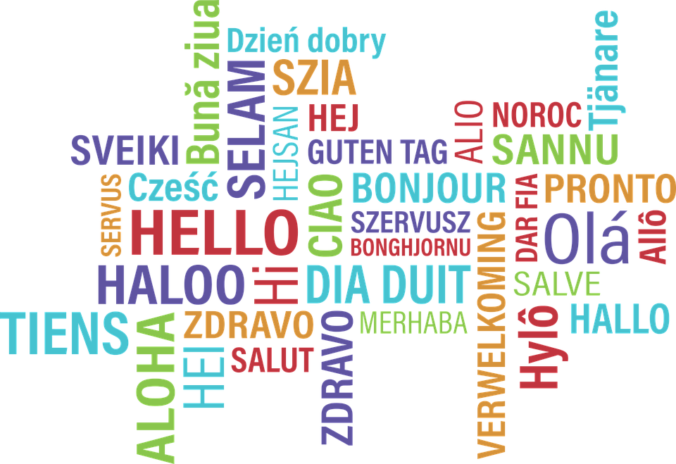 """hello"" text in different languages and colours"
