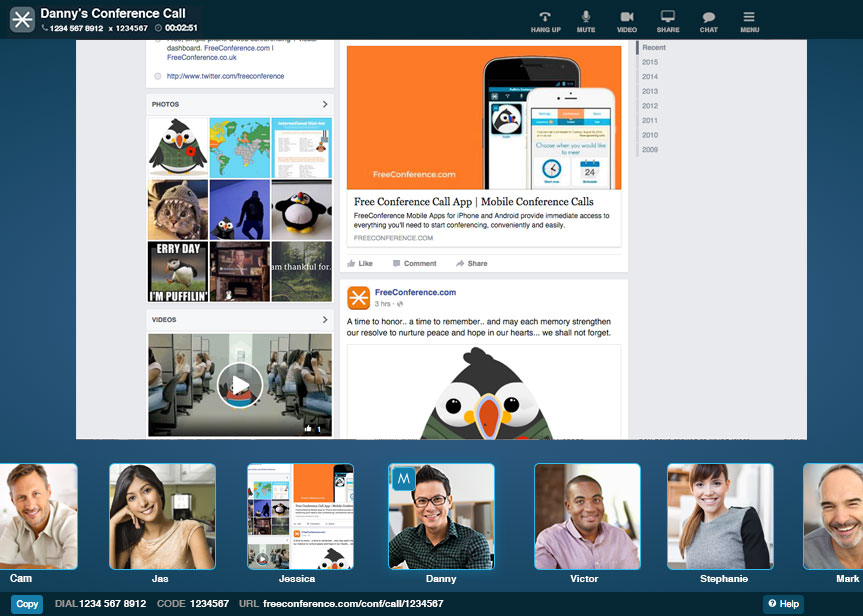 freeconference.com web and phone conferencing application using free screen sharing
