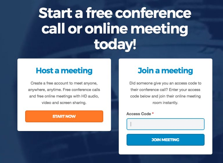FreeConference.com HomePage screen showing join a meeting by access code