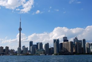 Downtown toronto skyline in the morning with CN tower