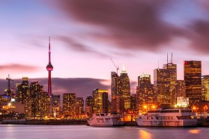 toronto city downtown skyline at harbourfront