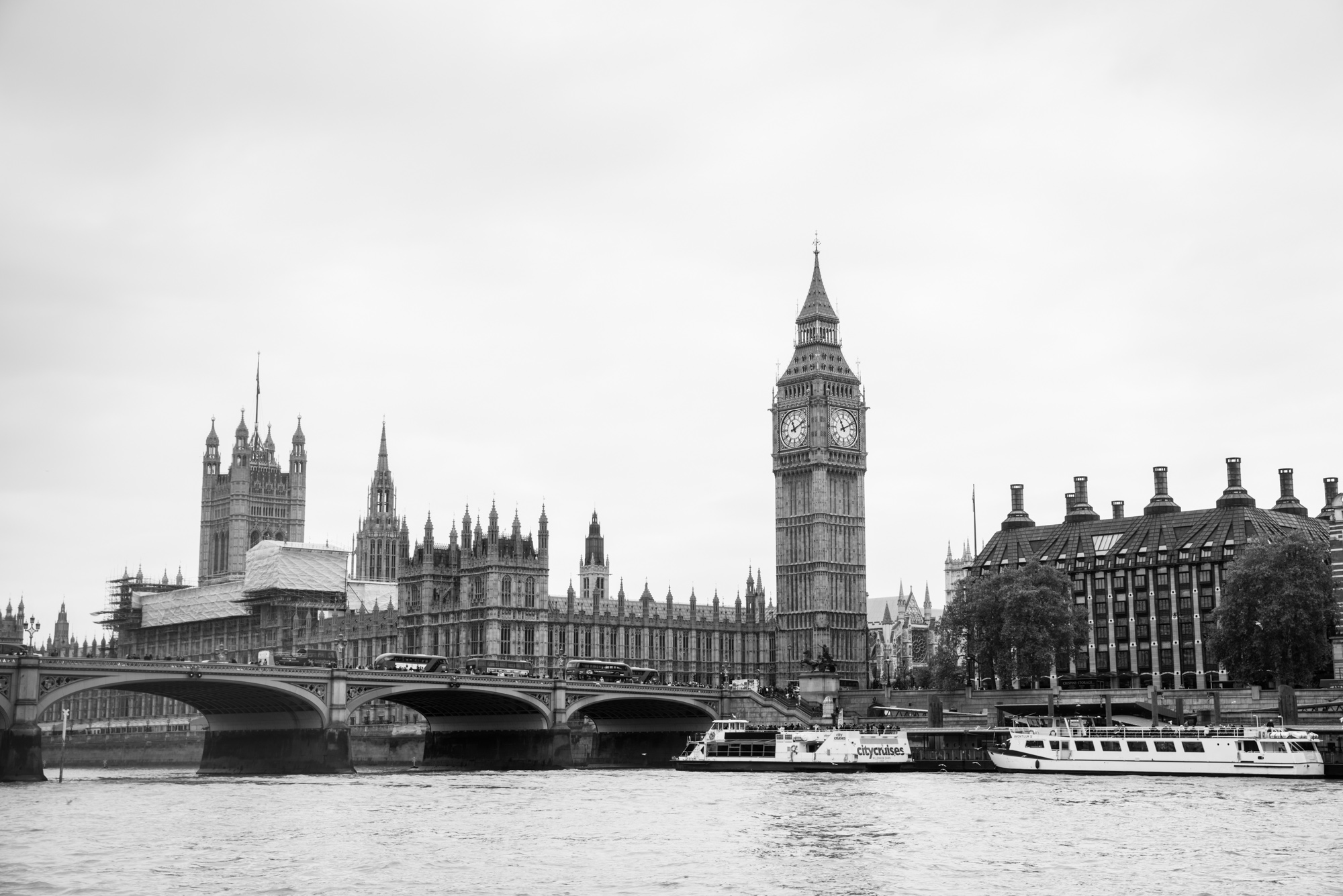 black and white picture of london, england