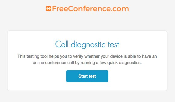 FreeConference.com's free conference call diagnostic tool for testing conference call connections