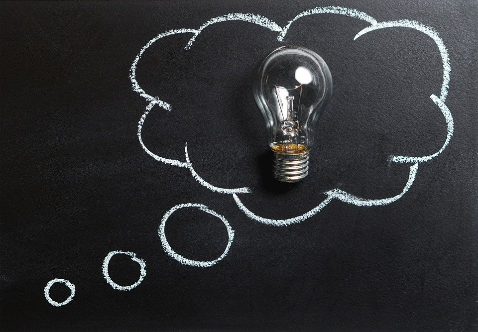 black chalkboard with idea bubble and lightbulb representing vision casting