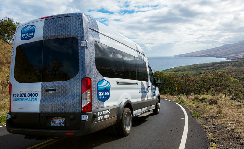 Tour van with an ocean view