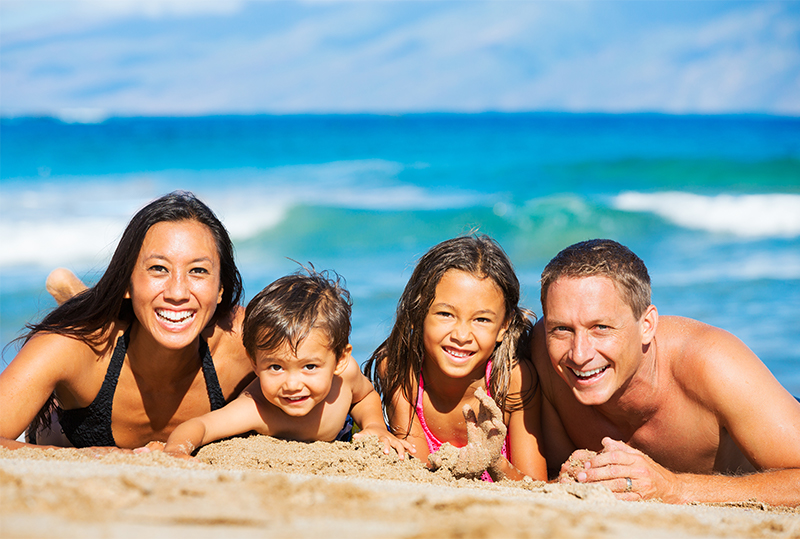Spend a day at the beach with your family on Maui