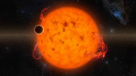 K2-33b, shown in this illustration, is one of the youngest exoplanets detected to date and makes a complete orbit around its star in about five days. These two characteristics combined provide exciting new directions for planet-formation theories. K2-33b could have formed on a farther out orbit and quickly migrated inward. Alternatively, it could have formed in situ, or in place.
