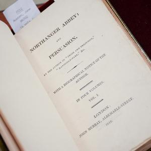photo of a first-edition volume of Jane Austen's Northanger Abbey and Persuasion