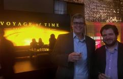 photo of Caltech's Chris Hayward and Phil Hopkins at movie premiere