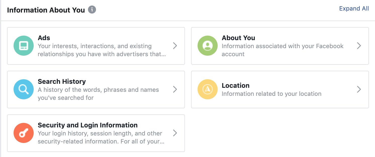 "Screenshot of ""Your Facebook Information"""