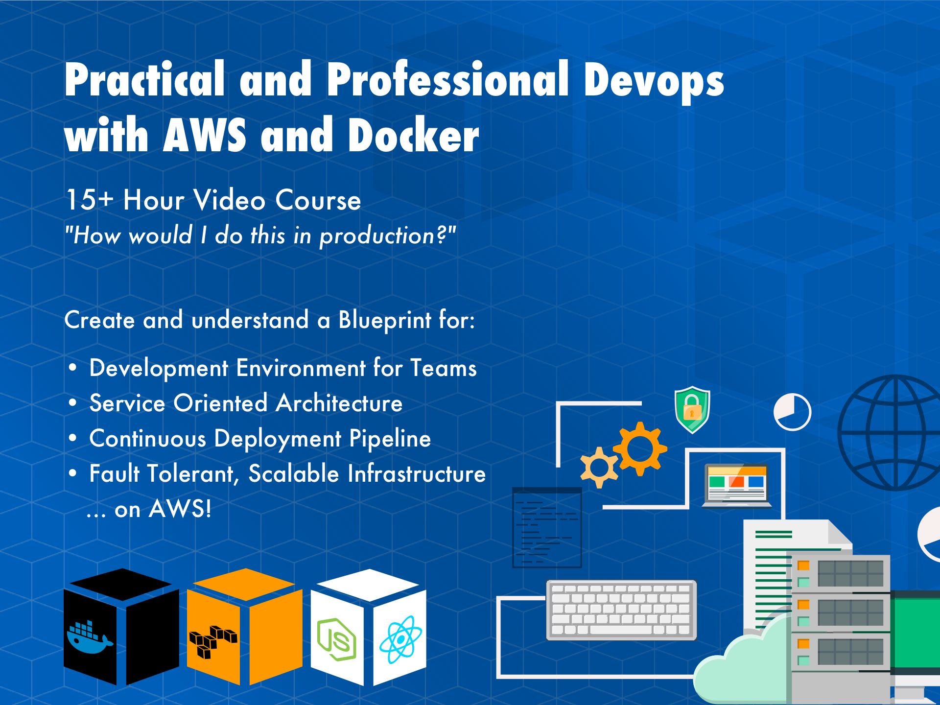 Practical and Professional Devops with AWS and Docker; 15+ hour course; Development Environment For Teams; Service Oriented Architecture; Continuous Deployment Pipeline; Fault Tolerant, Load Balanced and AutoScaling Infrastructure on AWS;