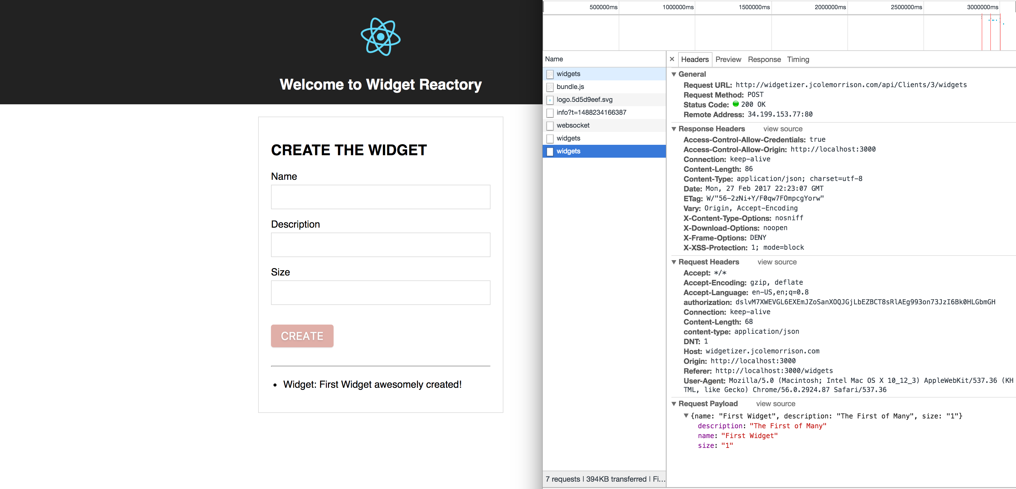 The Create Form Widget Request