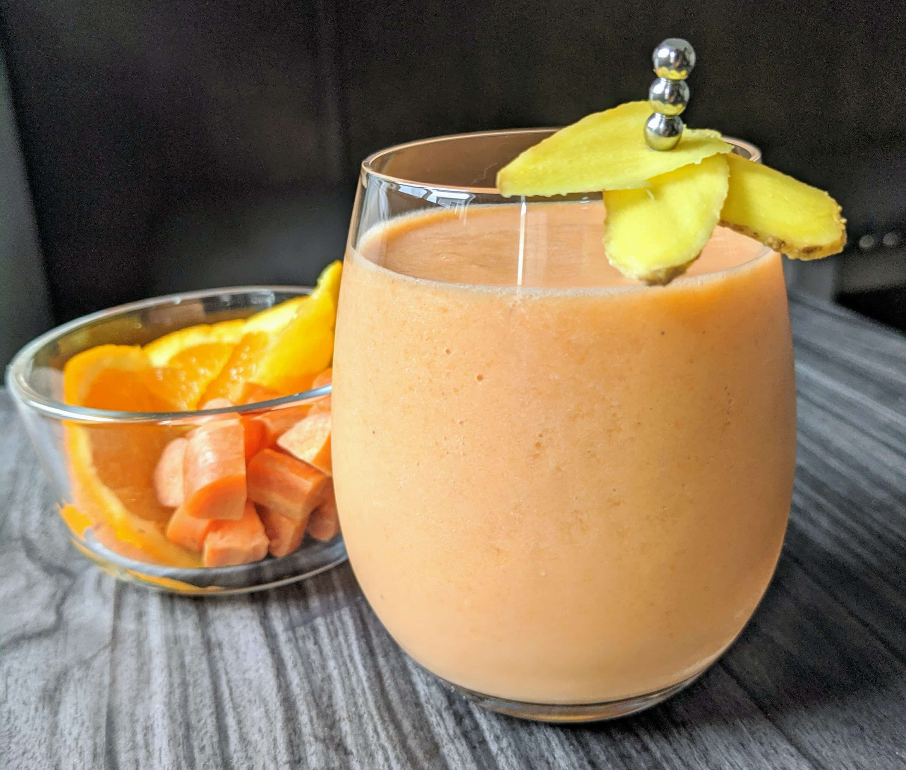 image of carrot ginger smoothie with orange